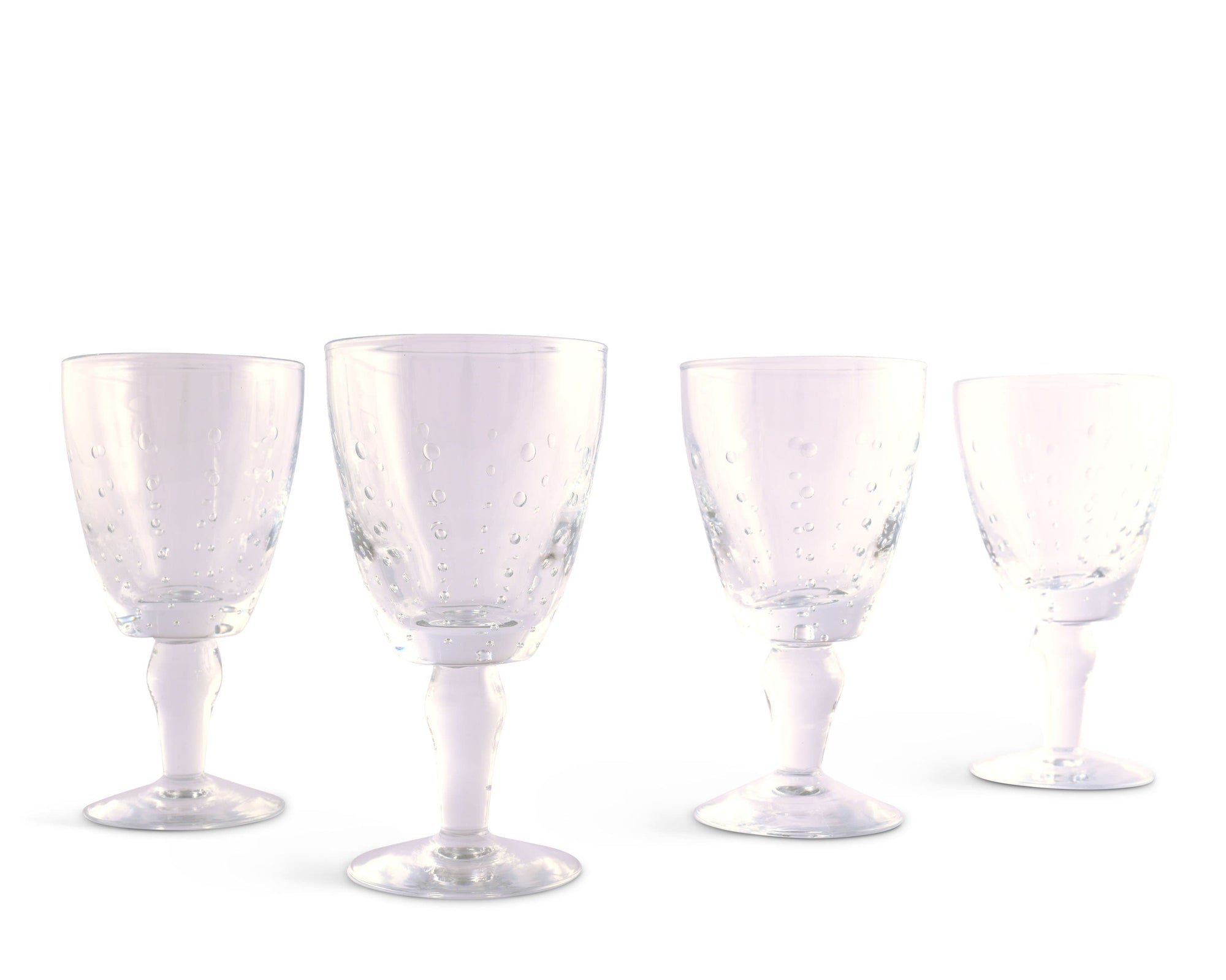 Vagabond House Hand Blown Glassware Wine Glass -  Clear Drops Set of 4