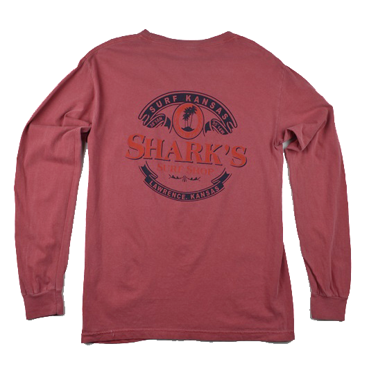 BEER LABEL LS POCKET TEE - CRIMSON
