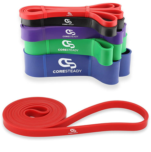 Coresteady red resistance band, ideal for pull ups, crossfit training, calisthenics, stretching, mobility exercises and home fitness workouts