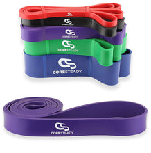 Load image into Gallery viewer, Coresteady purple resistance band, ideal for pull ups, crossfit training, calisthenics, stretching, mobility exercises and home fitness workouts