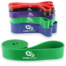 Load image into Gallery viewer, Coresteady green resistance band, ideal for pull ups, crossfit training, calisthenics, stretching, mobility exercises and home fitness workouts