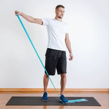 The industry standard in rehabilitation aid and physiotherapy, Coresteady Resistance Therapy bands provide safe and effective workouts that allow you to be in total control of every movement. Male exercising shoulder raise.