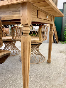 French Single Drawer Dining Table