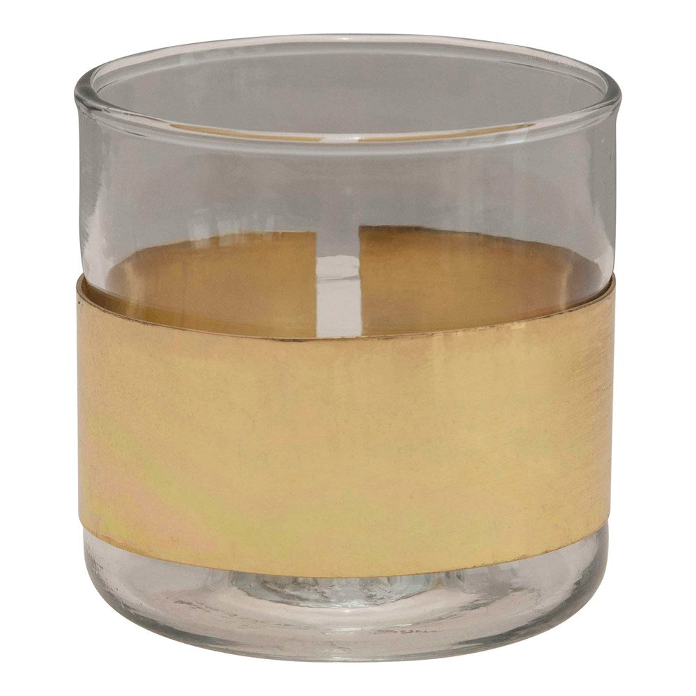 Glass Votive with Brass Band