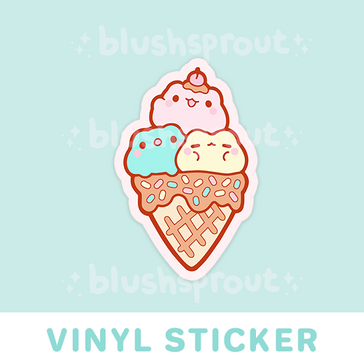 Froggie Ice Cream Vinyl Sticker