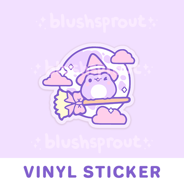 Froggie Witch Vinyl Sticker