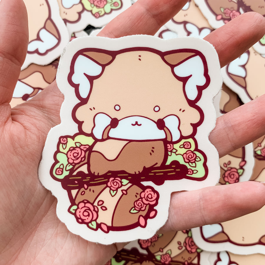 Rose Red Panda Vinyl Sticker