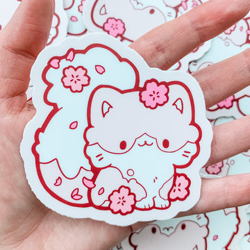 Cherry Blossom Cat Vinyl Sticker
