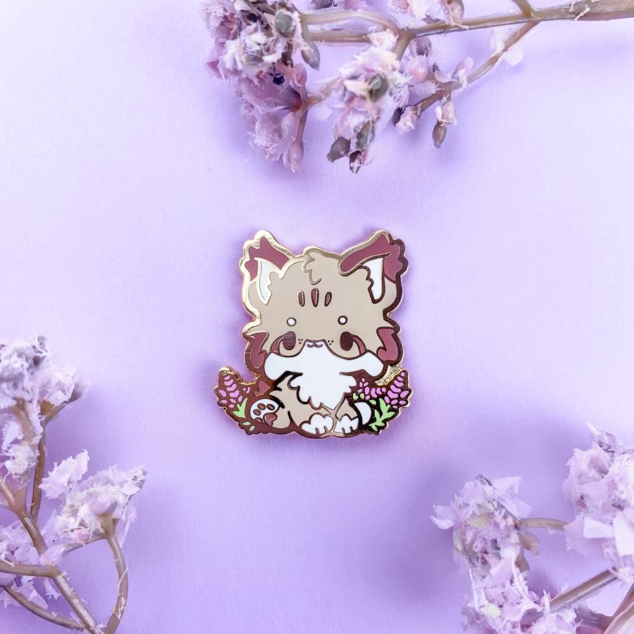FLORANIMALS #001-B  ✿ Lavender Lynx Pin (Mountain Path Edition)