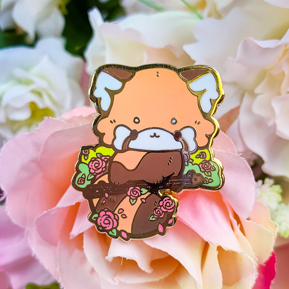Rose Red Panda Pin (Orange)