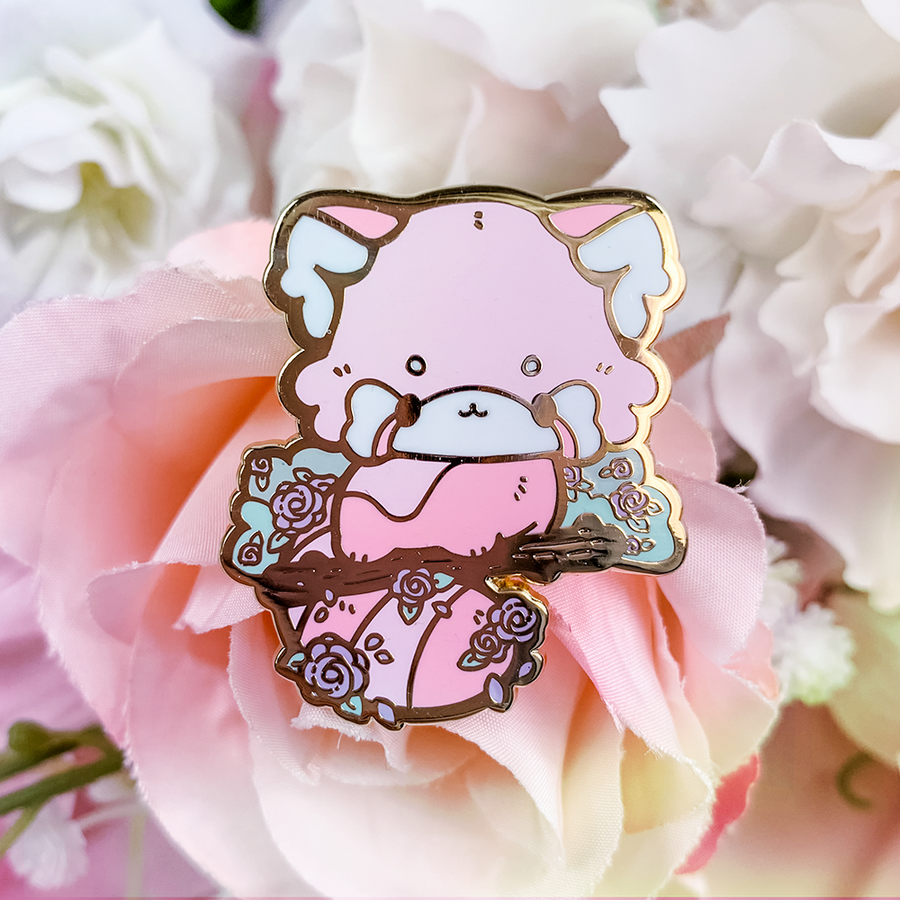 Rose Red Panda Pin (Open Edition: Pink)