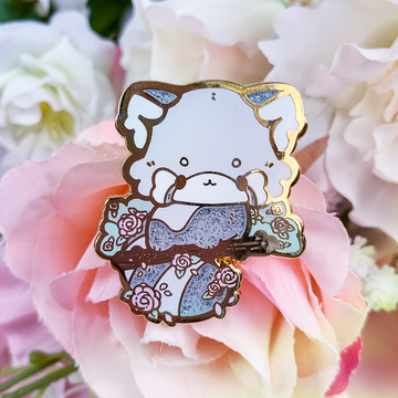 [PATREON SECRET SHOP EXCLUSIVE] Rose Red Panda Pin (Open Edition: Silver Glitter)