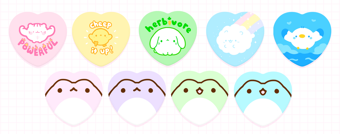 "3"" Heart Shaped Button Badges"