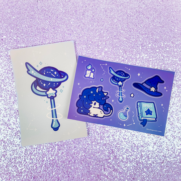 The Magician's Unicorn Vinyl Sticker Sheet + Mini Print
