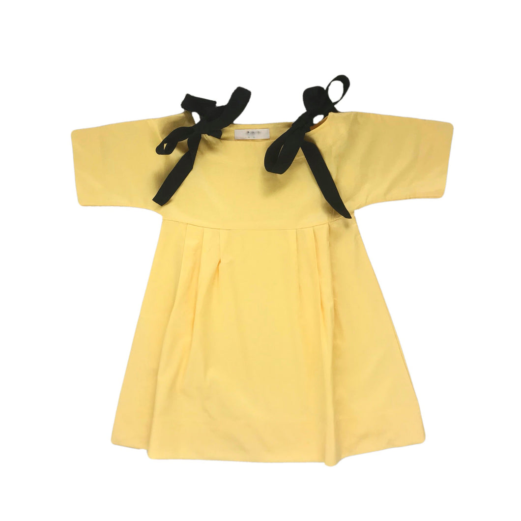 Girls Yellow Dress with Ribbon Ties | Sluice Farbo