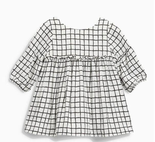 Baby Toddler Girls Black and White Grid Dress | Sluice Farbo