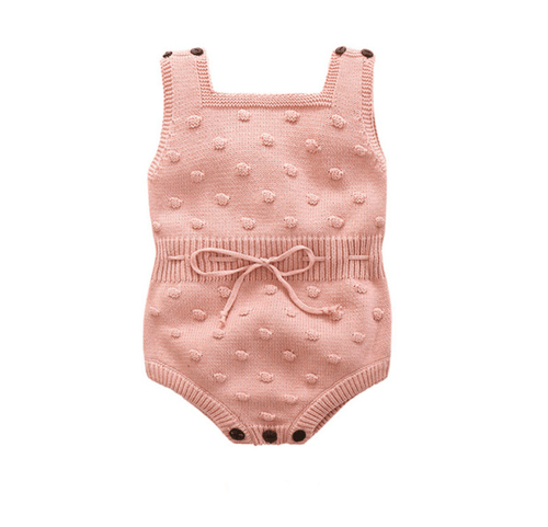 Knitted Pastel Pink Baby Romper | Sluice Farbo