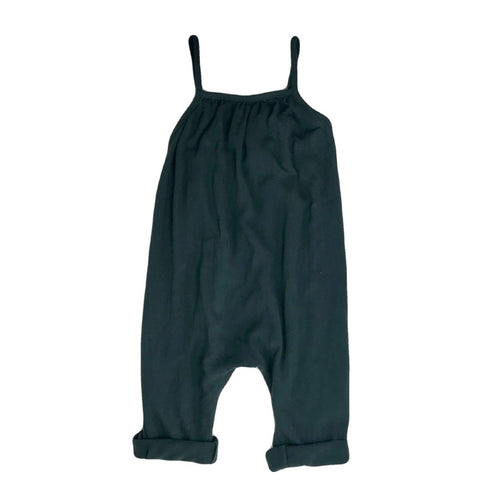 Girls Dark Green Linen Halter Romper | Sluice Farbo