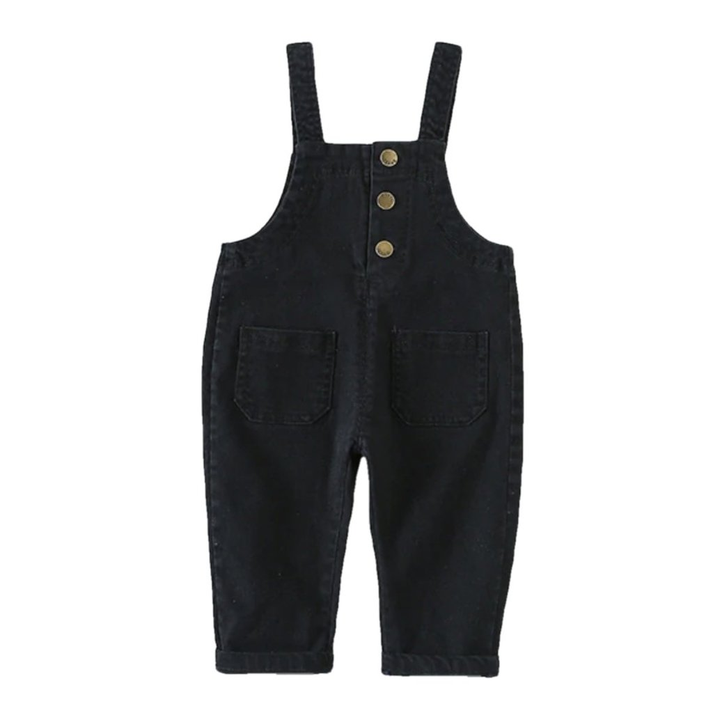 Baby Toddler Black Denim Overalls | Sluice Farbo