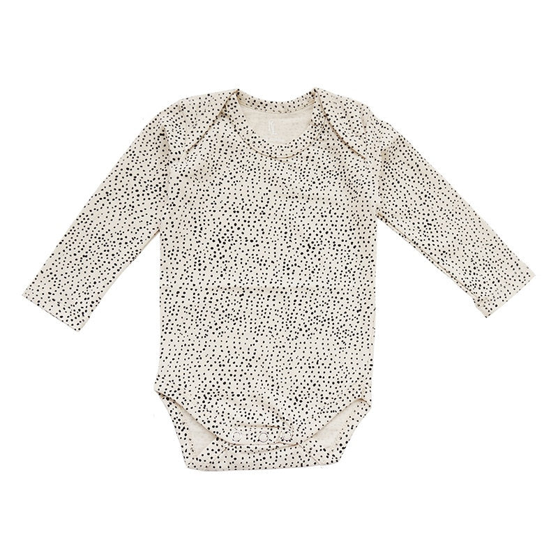 Dotted Long Sleeve Baby Onesie off White | Sluice Farbo