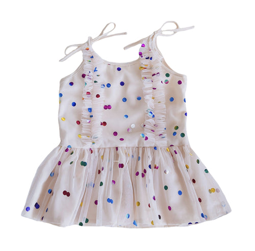 cream polka dot tulle dress girls baby