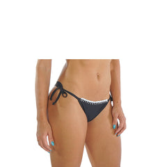 BLACK AND WHITE CROCHET-TRIM BIKINI BOTTOM - Bikinis Market