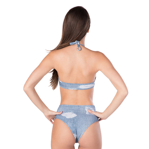DISTRESSED DENIM PRINT MONOKINI - Bikinis Market