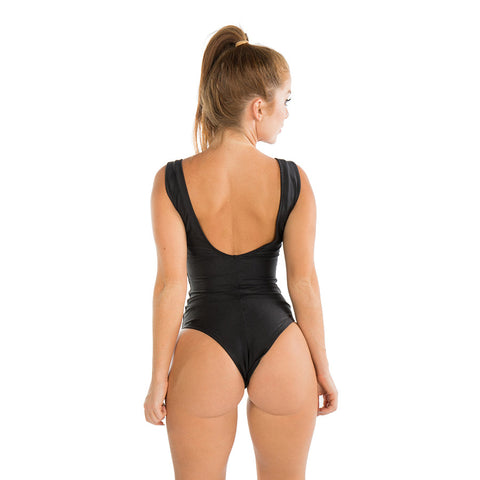 METALLIC BLACK CRISS CROSS ONE PIECE - Bikinis Market