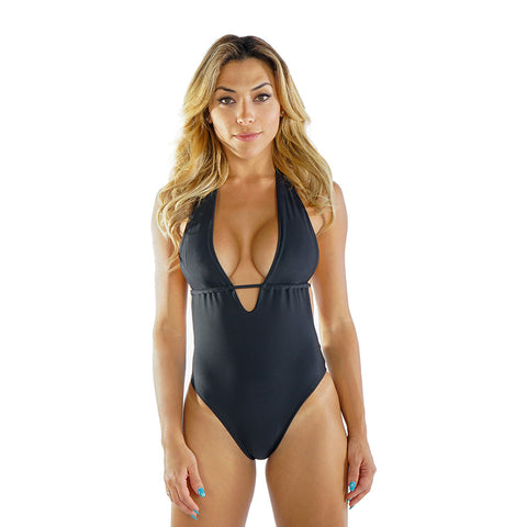 BLACK HALTER ONE PIECE - Bikinis Market