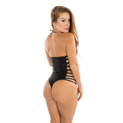 BLACK SIDE STRAPS ONE PIECE - Bikinis Market
