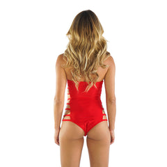 RED SIDE STRAPS ONE PIECE - Bikinis Market
