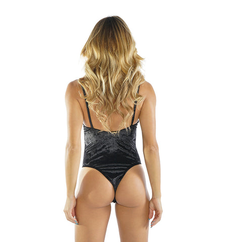 BLACK VELVET ONE PIECE BODYSUIT - Bikinis Market