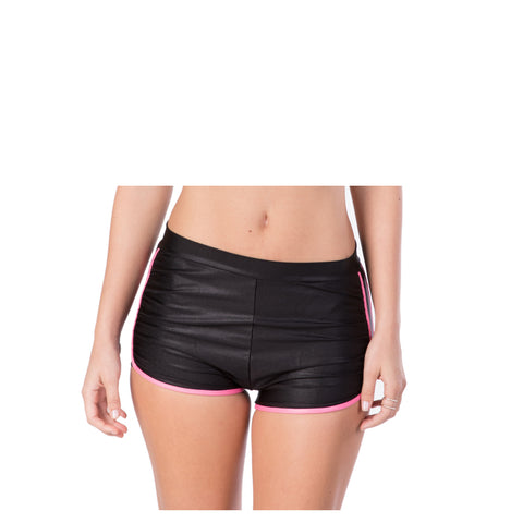HIGH WAIST METALLIC BLACK BIKINI BOY SHORTS - Bikinis Market