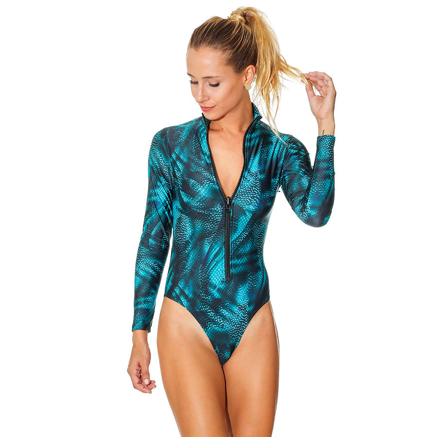 POWER SNAKE LONG SLEEVE ONE PIECE - Bikinis Market