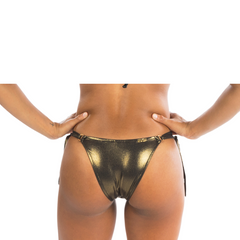 ANA RING METALLIC OLD GOLD BIKINI BOTTOM - Bikinis Market