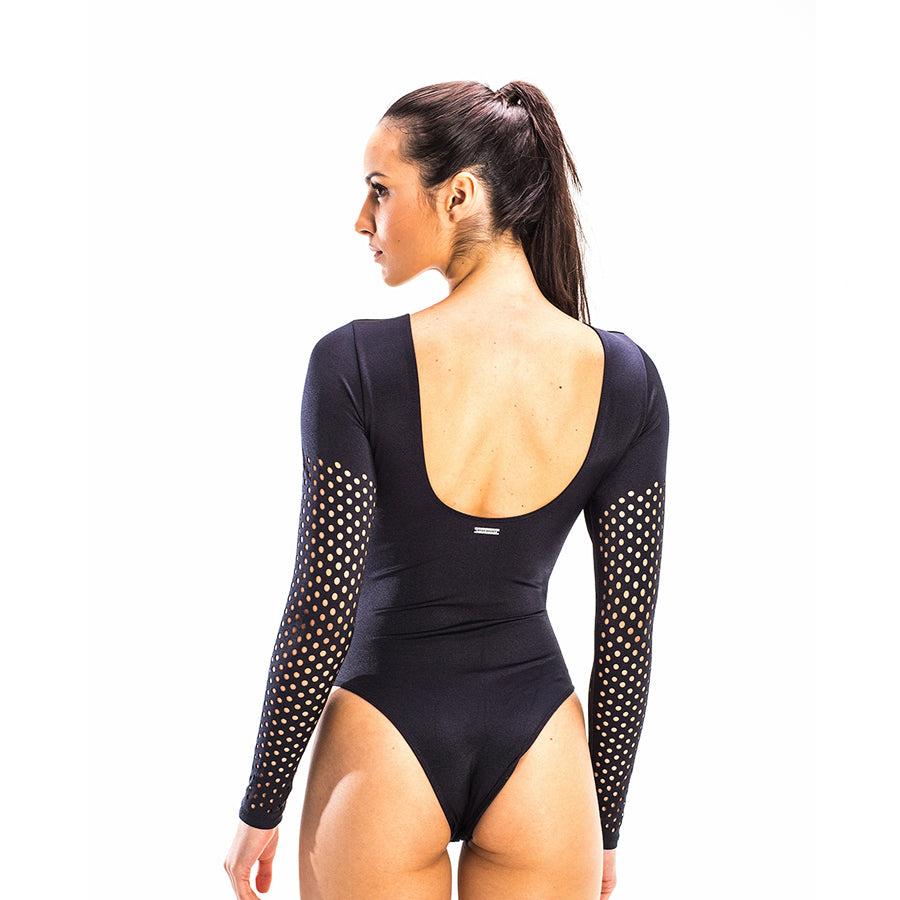 PAULA BLACK LONG SLEEVE BODYSUIT - Bikinis Market