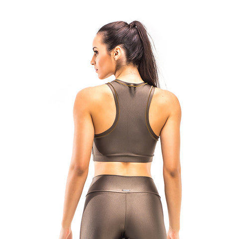 POWER BROWN LASER CROP TOP - Bikinis Market