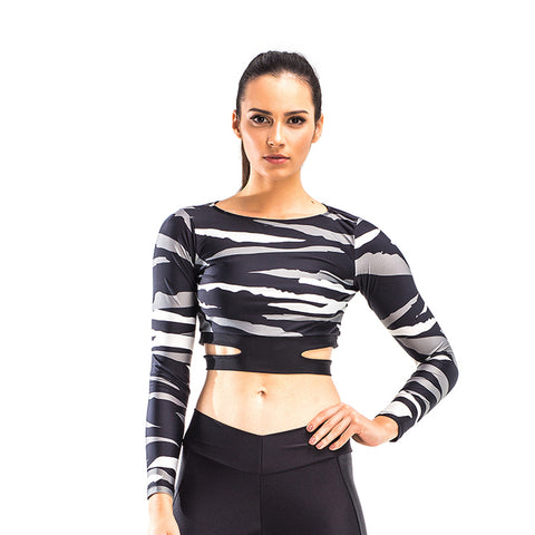 VICK ARMY LONG SLEEVE CROP TOP - Bikinis Market
