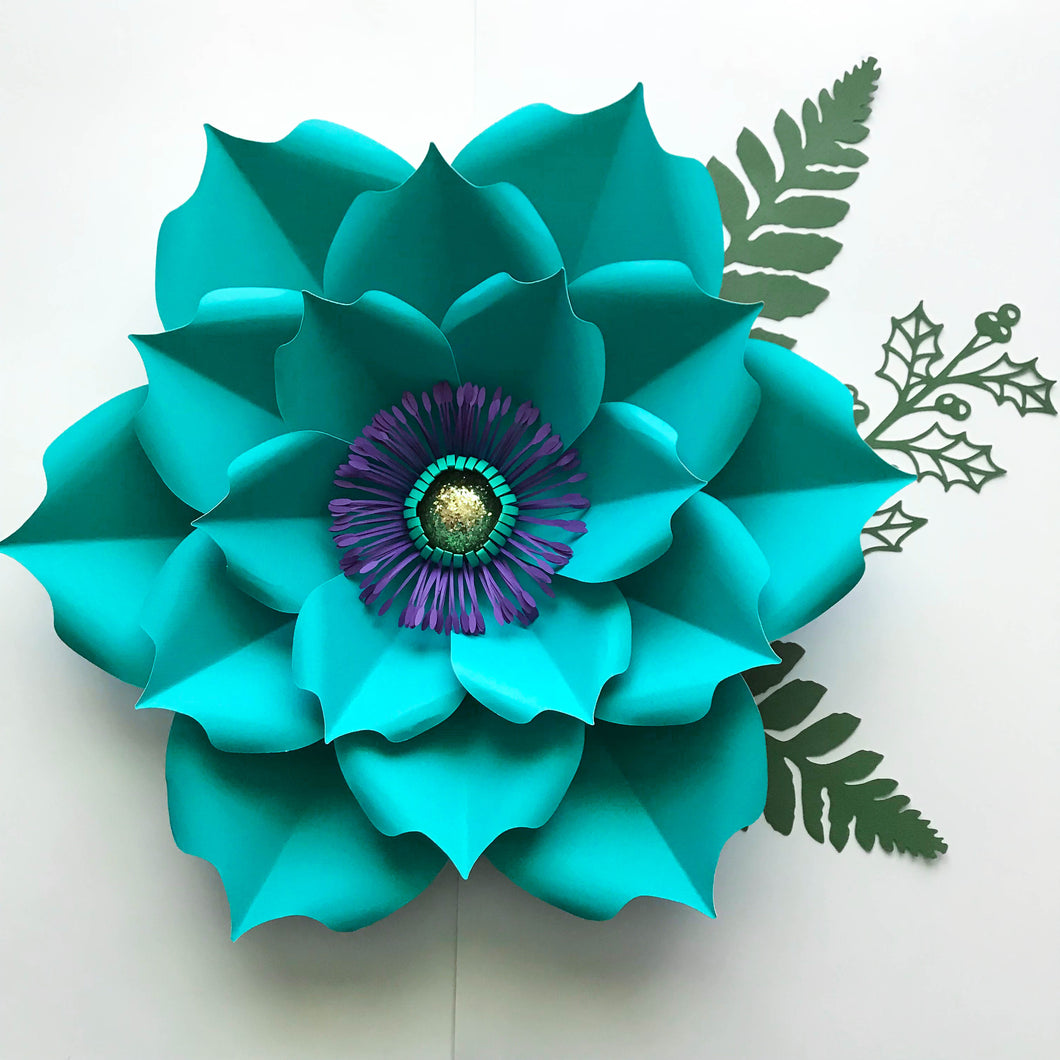 Pdf Petal 5 Paper Flower Templateprintabletrace And Cut 3d Giant