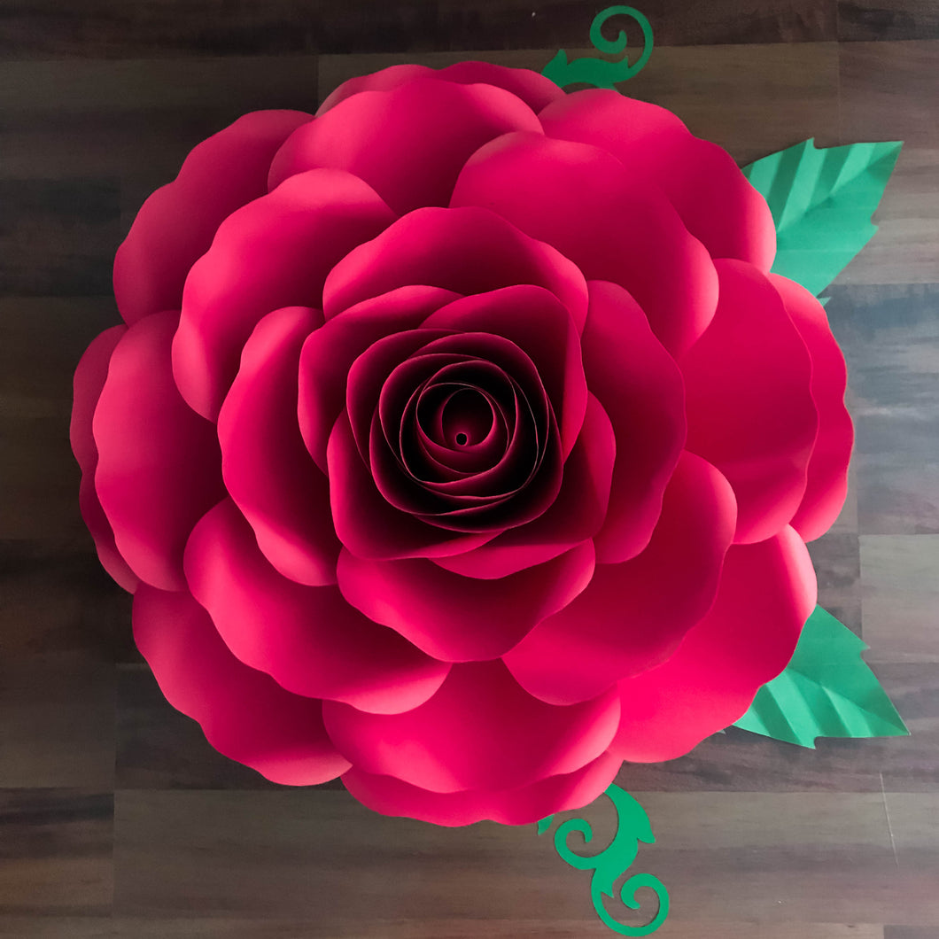 Pdf A4 Xl Rose Paper Flower Templates W Rose Bub Center Included