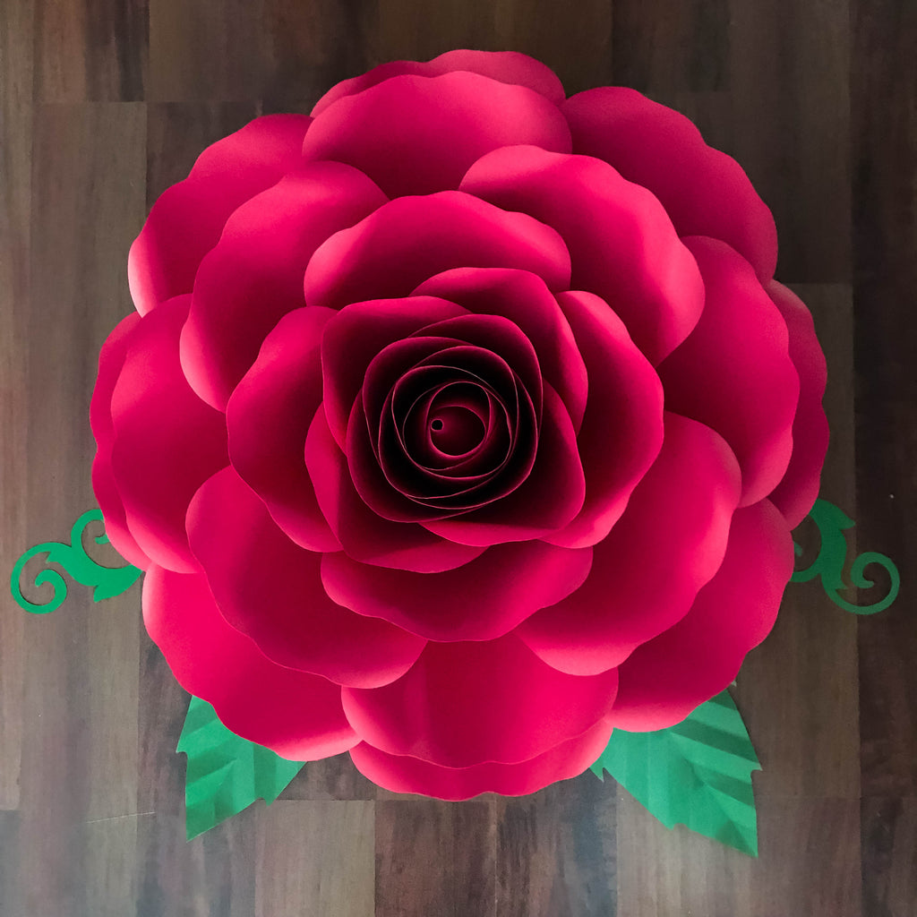Svg Dxf A4 Xl Rose Paper Flower Template Diy Cricut And Silhouette