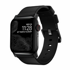 Nomad Modern Leather Band Black with Black Hardware for Apple Watch Series 6/SE 44/42mm