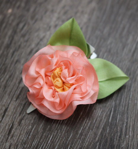 Pink Peony Hair Clip