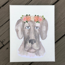 8x10 Dog with Ribbon Flower Crown