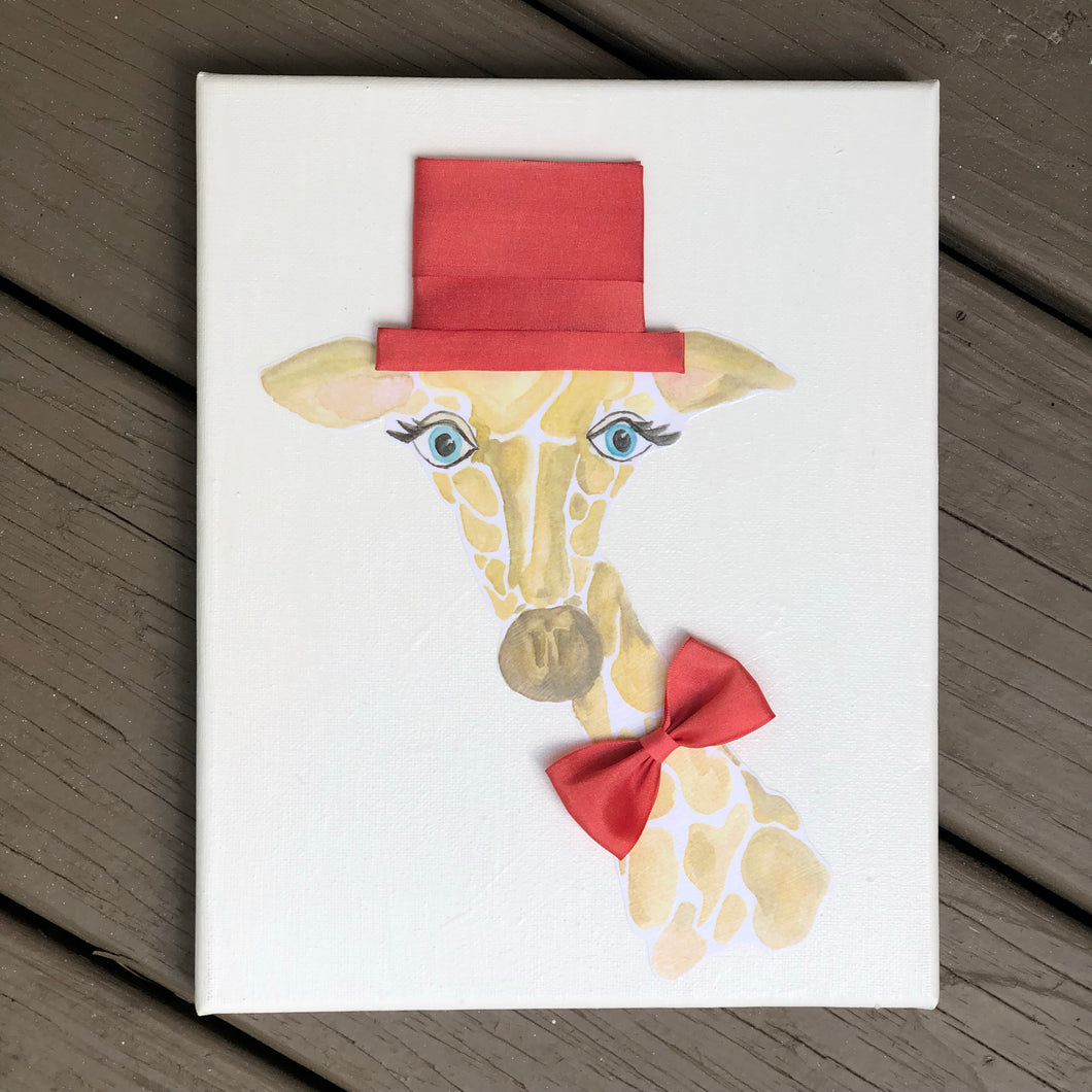 Giraffe with Top Hat and Bow Tie
