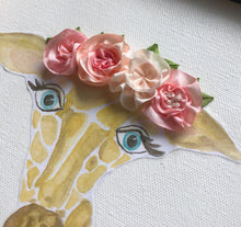 8x10 Giraffe with Blush Ribbon Flower Crown