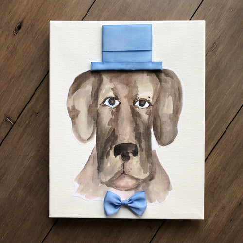 8x10 Dog with Top Hat and Bow Tie