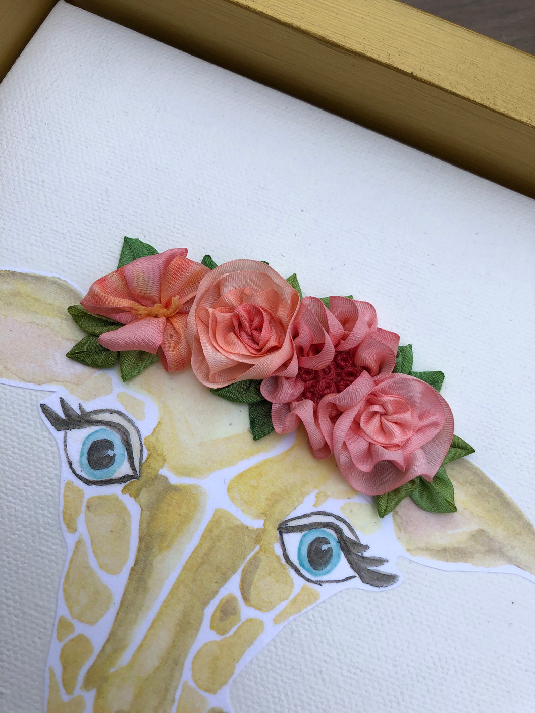 8x10 Giraffe With Pink Ribbon Flower Crown Genevieve Hayes Gifts
