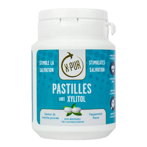 X-PUR Pastilles 100% Xylitol (Peppermint - Small bottles) - Oral Science Boutique