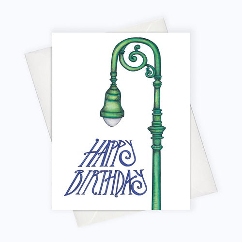 BIRTHDAY STREET LIGHT CARD | City Birthday Card | Street Lamp Birthday Greeting Card | Happy Birthday Card | Birthday Stationery | Street Lamp Art